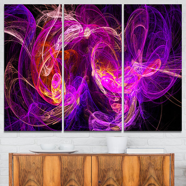 Designart Colored Smoke Blue Purple Abstract Canvas Art Print - 3 Panels
