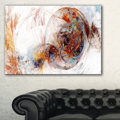 Designart Colored Smoke Brown Abstract Canvas ArtPrint - 3 Panels