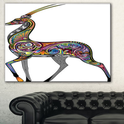 Designart Colorful Antelope Animal Canvas Art Print - 3 Panels