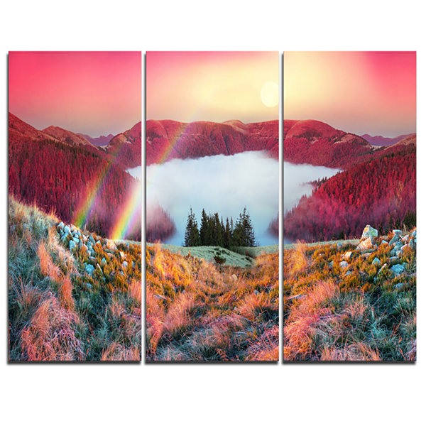 Designart Colorful Beach Forest In Carpathians Landscape Photography Canvas Print - 3 Panels