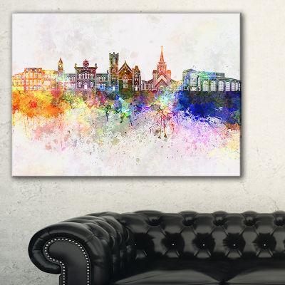 Designart Colorful Brampton Skyline Cityscape Painting Canvas Print