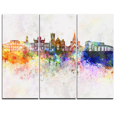 Designart Colorful Brampton Skyline Cityscape Painting Canvas Print - 3 Panels