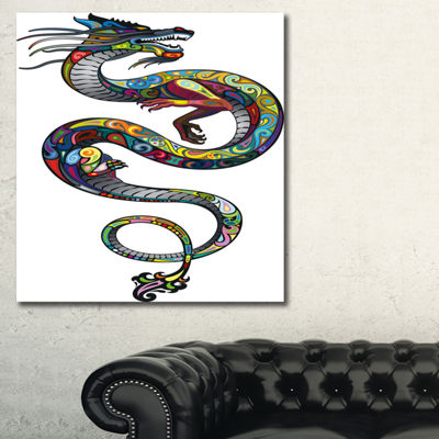 Designart Colorful Dragon Animal Canvas Art Print-3 Panels