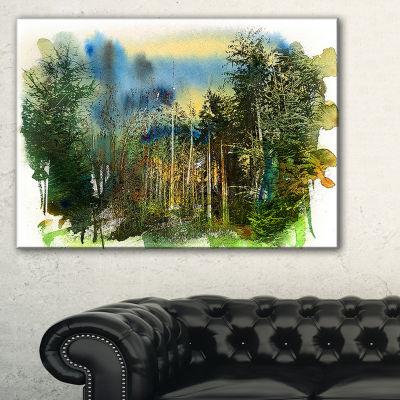 Designart Colorful Forest Watercolor Landscape Painting Canvas Print - 3 Panels