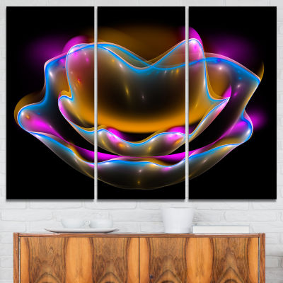 Designart Colorful Fractal Flower In Dark Floral Canvas Art Print - 3 Panels