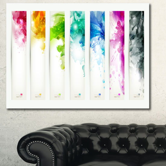 Designart Colorful Headers With Blots Abstract Canvas Painting