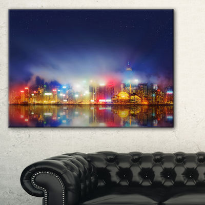 Designart Colorful Hong Kong Skyline Cityscape Photography Canvas Print