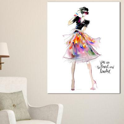 Designart Colorful Pretty Fashion Girl Abstract Portrait Canvas Print - 3 Panels
