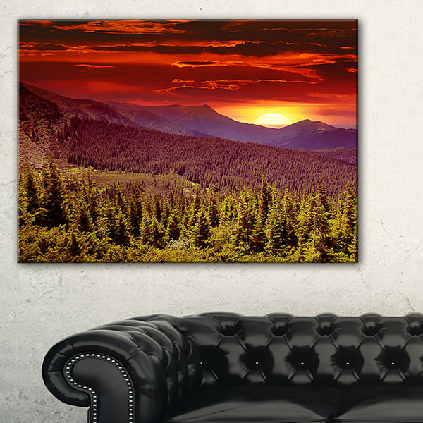 Designart Colorful Sunrise Over Mountains Landscape Photography Canvas Print