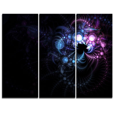 Designart Colorful Thorny Pattern In Dark FloralArt Canvas Print - 3 Panels