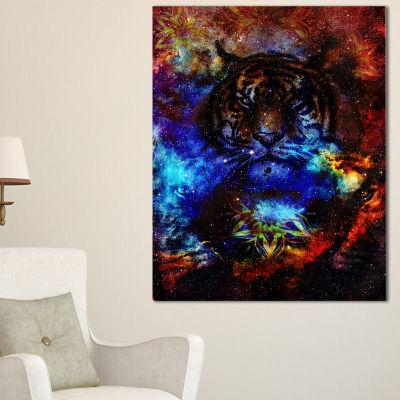 Designart Colorful Tiger Collage Animal Canvas ArtPrint