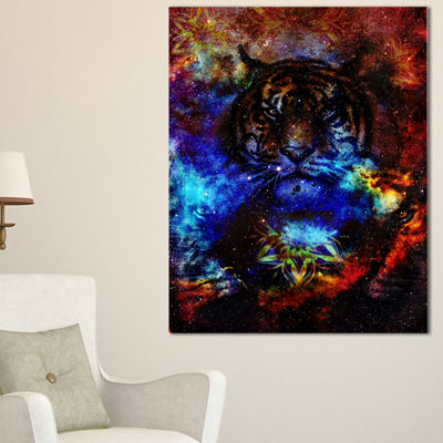 Designart Colorful Tiger Collage Animal Canvas ArtPrint - 3 Panels