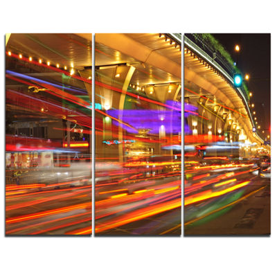 Designart Colorful Traffic Trails In City Cityscape Photo Canvas Print - 3 Panels