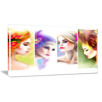 Designart Colorful Women Face Collage Abstract Portrait Canvas Print