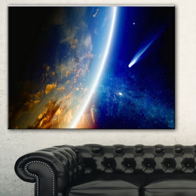 Designart Comet Approaching Earth Spacescape Canvas Art Print - 3 Panels