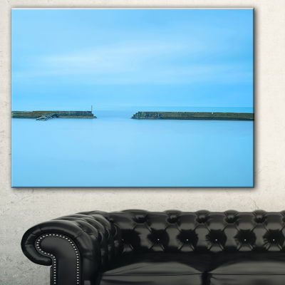 Designart Concrete Pier And Stairs Seascape CanvasArt Print