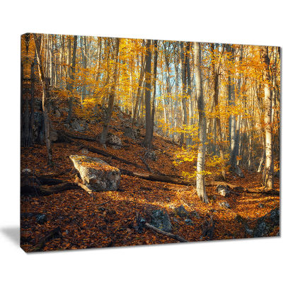 Designart Crimean Mountains Yellow Leaves Landscape Photography Canvas Print