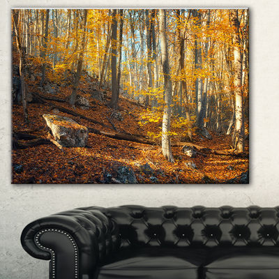 Designart Crimean Mountains Yellow Leaves Landscape Photography Canvas Print - 3 Panels
