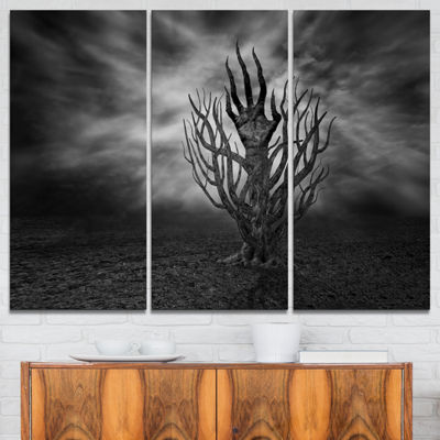 Designart Cry Of Hand Abstract Canvas Art Print -3Panels
