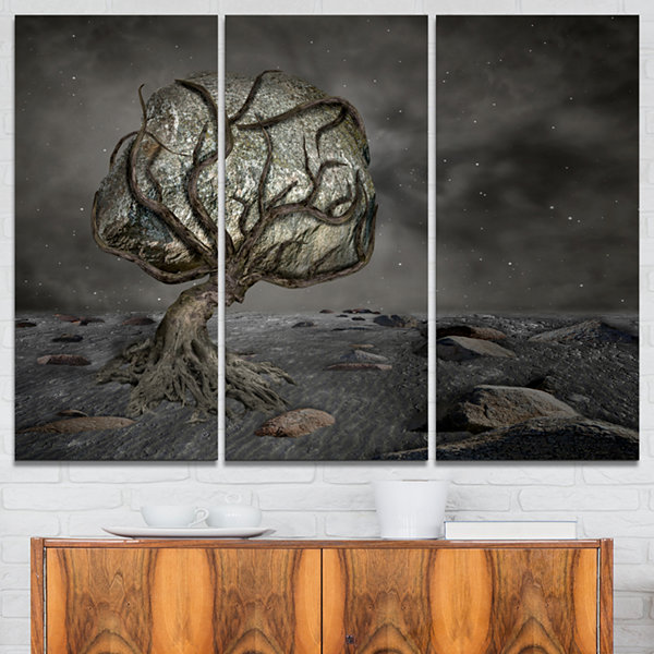 Designart Burden Of Life Abstract Canvas Art Print- 3 Panels