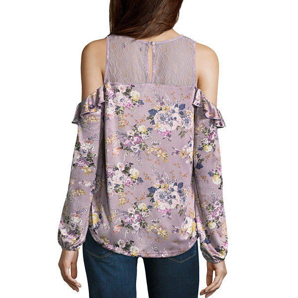 Almost Famous Long Sleeve Y Neck Satin Ruffled Blouse-Juniors