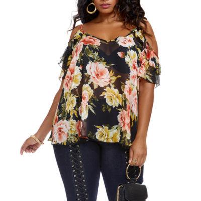 Fashion To Figure Simone Ruffle Shoulder Floral Blouse - Plus