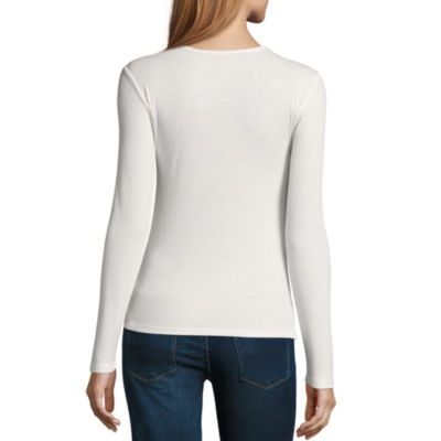 Arizona Rib Knit Cut Out Neckline Top - Juniors