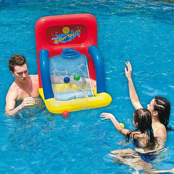 "34"" Red  Yellow and Blue Inflatable Swimming PoolWater Sports Basketball Shooting Game"