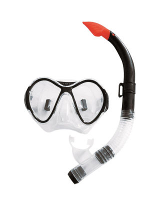 Black  Red and Clear Zray Teen/Young Adult Scuba Mask and Snorkel Dive Set