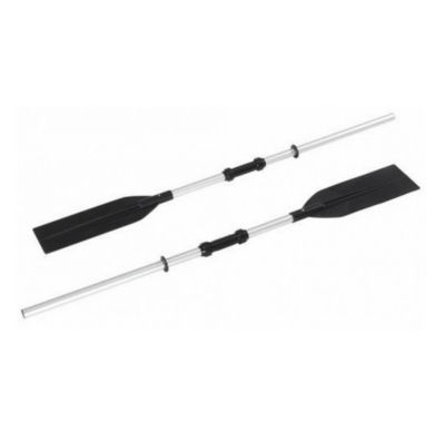 Set of 2 Silver and Black Two Section Super Strong Aluminium Rowing Oars