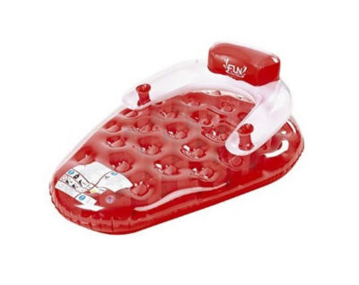 "65"" Red and White Strawberry Shaped Swimming Pool Inflatable Water Lounge"