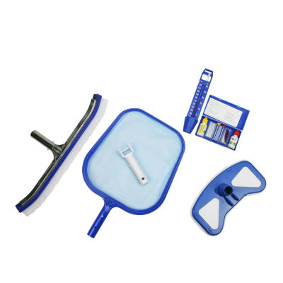 5-Piece Deluxe Swimming Pool Kit - Vacuum Leaf Skimmer Wall Brush Thermometer and Test Kit