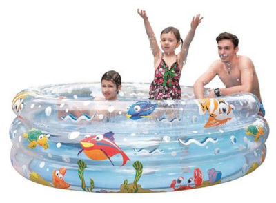 "59"" Ocean Floor Inspired Three Ring Inflatable Children's Swimming Pool"