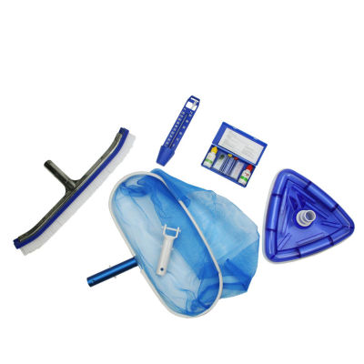 5-Piece Deluxe Swimming Pool Kit - Vacuum  Leaf Rake  Wall Brush  Thermometer and Test Kit