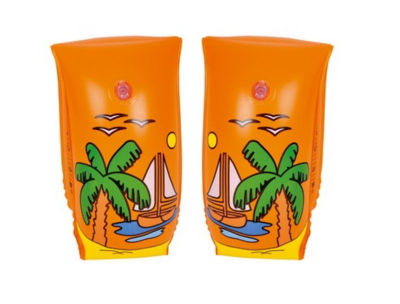 Set of 2 Orange Sail Boat Voyage Inflatable Swimming Pool Arm Floats for Kids 6-12 Years