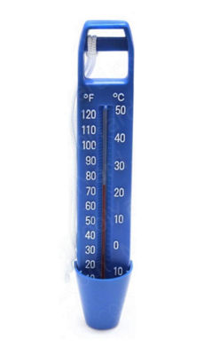 "9.5"" White and Blue Large Pocket Swimming Pool andSpa Thermometer with Cord"""