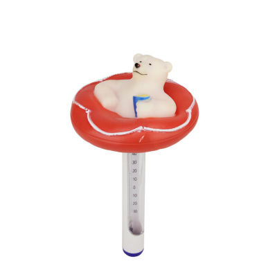 "8.25"" Red and White Polar Bear Floating Swimming Pool Thermometer with Cord"""
