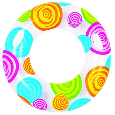 """35"""" Circles and Swirls Fashion Inflatable Swimming Pool Inner Tube Ring Float with Handles"""