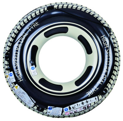 """47"""" Black and White Radial Tire Inflatable Swimming Pool Inner Tube Ring Float with Grab Rope"""