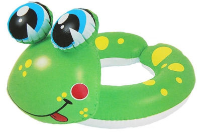 "24"" Green and Yellow Frog Children's Inflatable Swimming Pool Split Ring Inner Tube"