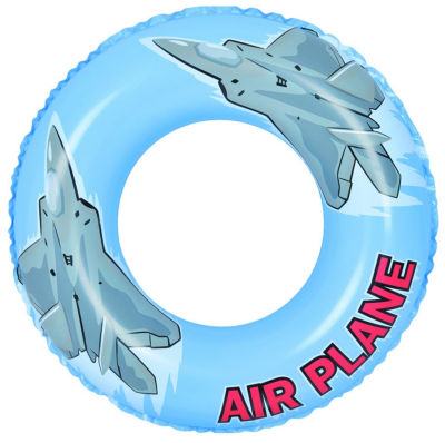 """30"""" Blue and Gray Airplane Inflatable Swimming Pool Inner Tube Ring Float"""