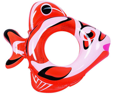 "34"" Orange and White Inflatable Fish Children's Swimming Pool Swim Ring Inner Tube"