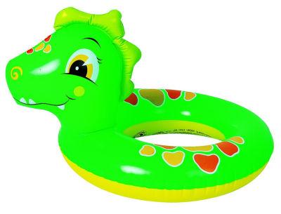 """24"""" Green and Orange Dinosaur Children's Inflatable Swimming Pool Inner Tube Ring"""
