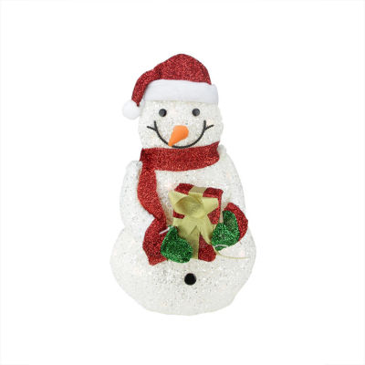 """23"""" Lighted White Plush Glittered Snowman with Tinsel Gift Christmas Yard Art Decoration"""""""