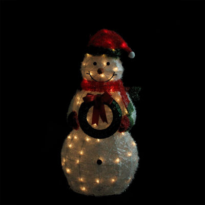 "38"" Lighted Sparkling Tinsel & Sisal Snowman withWreath Christmas Yard Art Decoration"""