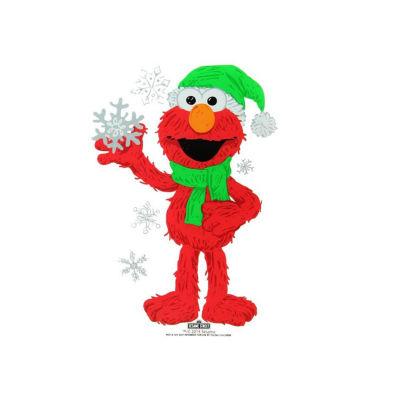 "6.5"" Sesame Street Elmo with Snowflakes Jelz Christmas Window Cling"""