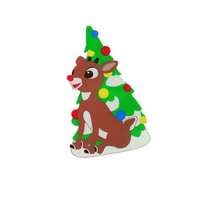 "8"" Rudolph the Red-Nosed Reindeer Jelz Christmas Window Cling"""