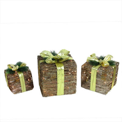 Set of 3 Lighted Natural Rattan and Glitter Gift Boxes Christmas Decorations
