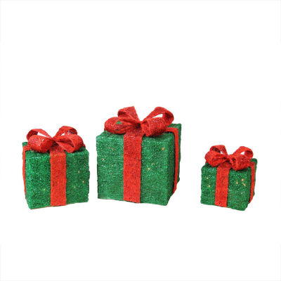 Set of 3 Lighted Sparkling Sisal Gift Boxes Christmas Yard Art Decorations