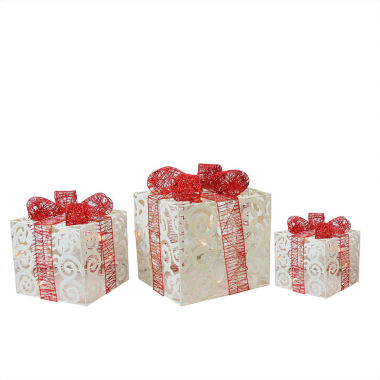 Set of 3 Lighted Sparkling Swirl Glitter Gift Boxes Christmas Yard Art Decorations